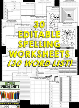 Spelling Activities (Editable) for Spelling Practice (BUNDLE - 25 & 30 WORDS)