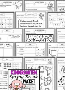 Spring Break: Kindergarten Spring Break Packet