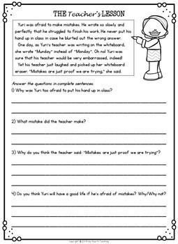 Growth Mindset: Reading Comprehension Passages (2nd Grade)