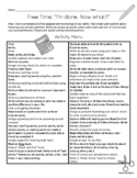 Free Time Tasks For Early Finishers