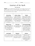 Early Finishers - Scientist of the Month Tic Tac Toe