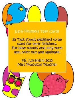 Early Finishers Task Cards - White Background