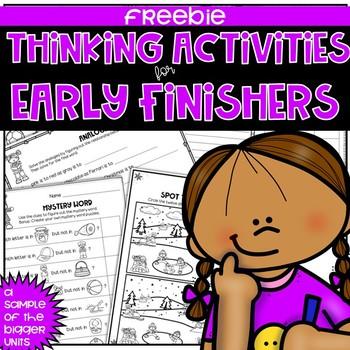 Early Finishers Thinking Puzzles FREEBIE