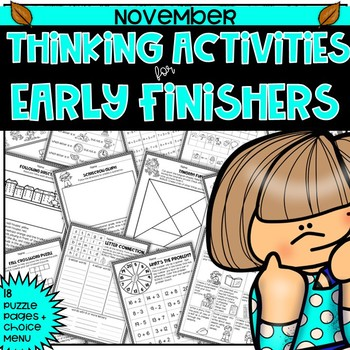 Early Finishers Thinking Puzzles for November