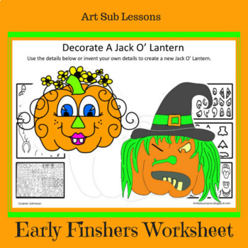 art sub early finishers worksheet for halloween