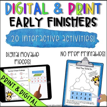 Early Finishers and Gifted Math Activities Grades First, Second, Third