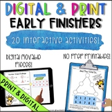 Digital & Print Early Finishers Math Challenges | Fast Finishers