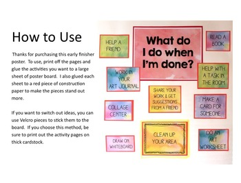 """What Do I Do When I'm Done?""  Early Finishers in Art Class Poster"