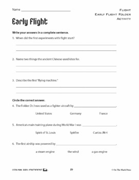 Early Flight Lesson & Reading Folder