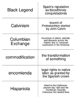 Early Globalization of the Atlantic World Vocabulary Flash Cards