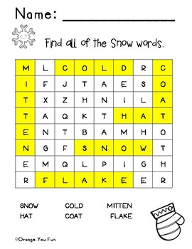 Early Grade Snow Words Word Search