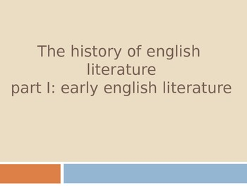 Early History of English Literature