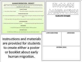 Early Human Migration : Map & Organizer Activity