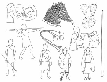 Early Humans Clip Art: Paleo / Early Stone Age People + Artifacts (BLACKLINE)