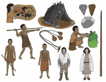 Early Humans Clip Art: Paleo / Early Stone Age People + Artifacts (COLOR)