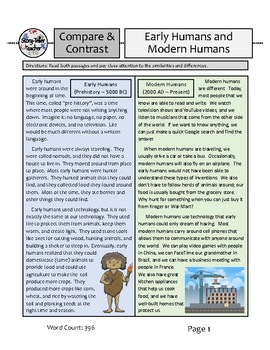 Early Humans Compare Contrast Reading Passage