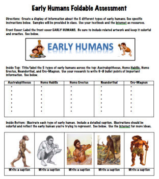 Early Humans Foldable Assessment