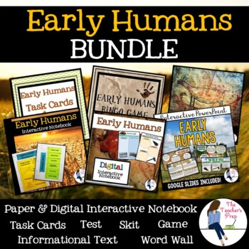 Early Humans Interactive Notebook, Game, Reader's Theater and Task Cards Bundle