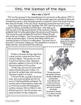 Early Humans, Archaeology OTZI Copper Age Iceman of the Alps Texts, Activities