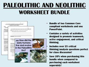 Early Humans - Paleolithic and Neolithic Bundle - Global/World Common Core