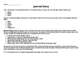 Early Humans RAFT Journal Entry