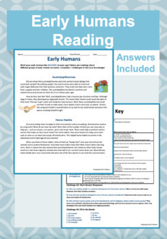 Early Humans Reading and Questions Worksheet (Answer Key Included)