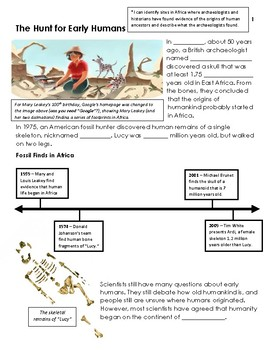 Early Humans Unit, Student Notes - 6th Grade Social Studies