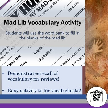 Early Humans-Vocabulary-Mad Lib Fill in the Blank