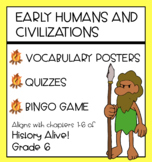 Early Humans - Vocabulary Posters, Quizzes, Bingo Game