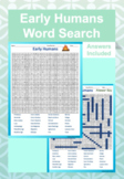 Early Humans Word Search (Answer Key Included)