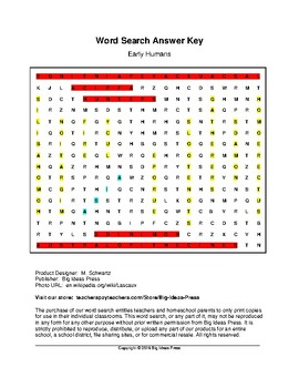Early Humans Word Search (Grade 6)