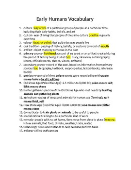 Early Humans and Mesopotamia Vocabulary Notes and Activity
