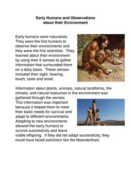 Early Humans and Observations  about their Environment