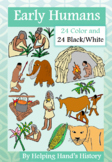 Early Humans and Stone Age Clip Art, 24 Images Color AND 24 Black/White