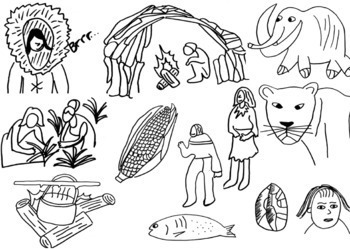 Early Humans and Stone Age Clip Art, 24 Images (Black and White Only)