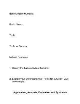 Early Humans and their Tools:  Common Core Reading and Writing Activities