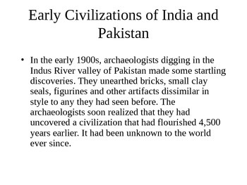 Early India Civilizations Powerpoint