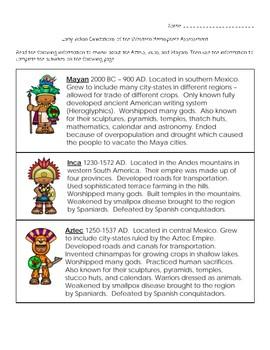 Early Indian Civilizations (Western Hemisphere) Assessment (Aztec, Inca, Maya)