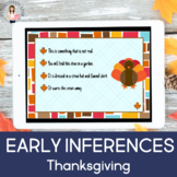 Early Inferences-Fall/Thanksgiving (Boom Cards, Teletherapy, Distance Learning)