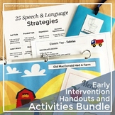 Speech Therapy Parent Handouts and Toddler Activities for Early Intervention