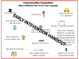 Early Intervention Communication Temptations Handout, Spee