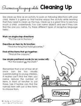 Early Intervention Parent Handouts for Speech and Language Development Set 2