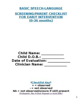 Early Intervention Speech-Language Screening Tool/Parent Checklist