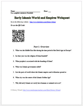 Early Islamic World and Empires Webquest