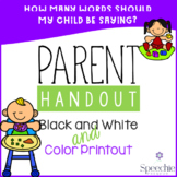 Early Language Development Handout - How many words should