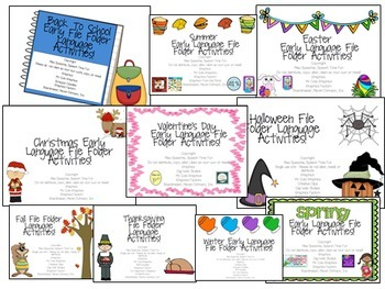 Early Language File Folder Activities BUNDLE