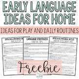 Early Language Ideas for Home - Early Intervention Freebie