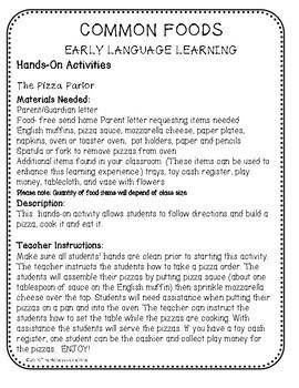 ASL Language Unit Food Pre-K & Kindergarten