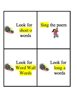 Early Learner Poetry Center Task Cards