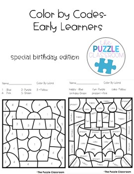 Early Learners Color by Code- Birthday